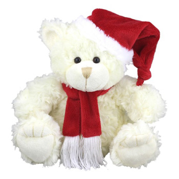 Soft and lovely Xmas Bear to send this Christmas flowers delivery - Flowers Auckland