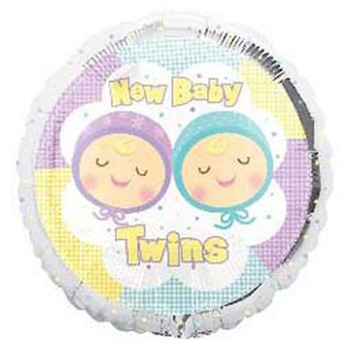 New Baby Twins Helium Balloon at Flowers Auckland flowers delivery - Flowers Auckland
