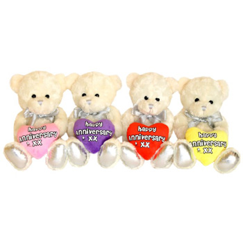 Anniversary Bears from Flowers Auckland make a great touch for this special occasion flowers delivery - Flowers Auckland