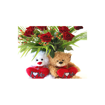 Red Roses and Teddy - flowers delivery - Flowers Auckland florist flowers delivery - Flowers Auckland