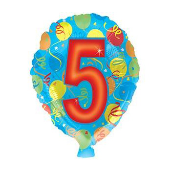 Send Number Balloons for 5th Birthdays flowers delivery - Flowers Auckland