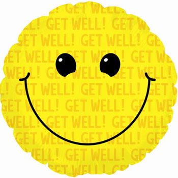 Get Well Smiley Helium Balloon for Auckland delivery flowers delivery - Flowers Auckland