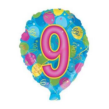 Number 9 Helium Balloon at Flowers Auckland flowers delivery - Flowers Auckland