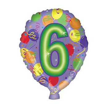 Number 6 Helium Balloon for same day Auckland delivery flowers delivery - Flowers Auckland
