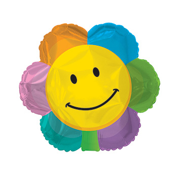Smiley Face and Flower combined in this fun Helium Balloon flowers delivery - Flowers Auckland