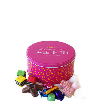 Lovely Sweet Tin chocca filled with assorted mix at Flowers Auckland flowers delivery - Flowers Auckland
