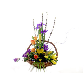 Basket Flower Arrangement, flowers delivery at Flowers Auckland flowers delivery - Flowers Auckland